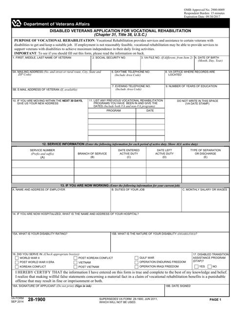 VA Form 28-1900 Fillable Pdf