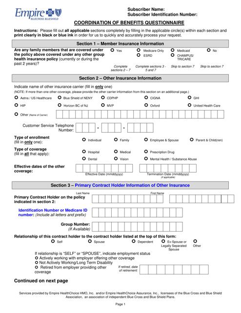 Coordination of Benefits Questionnaire Form - Empire Blue ...