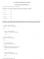 Practice Dosage Calculation Test With Answer Key - St. Louis Community College