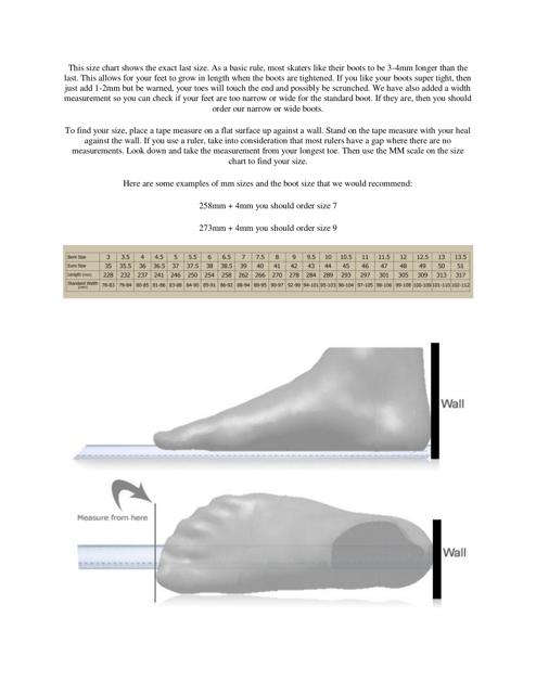 """""""Shoe Size Chart - Bont"""" Download Pdf"""