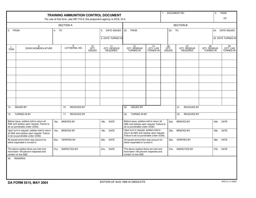 DA Form 5515  Fillable Pdf