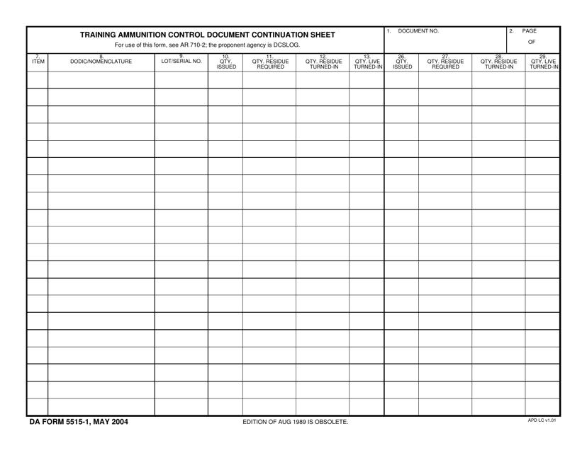 DA Form 5515-1 Fillable Pdf
