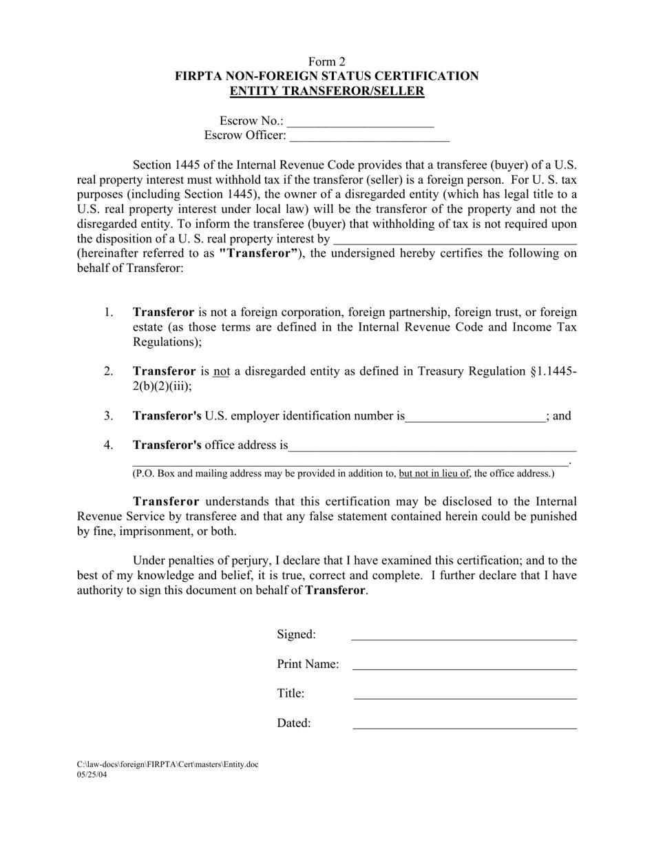 firpta transferor entity status templateroller certification foreign seller