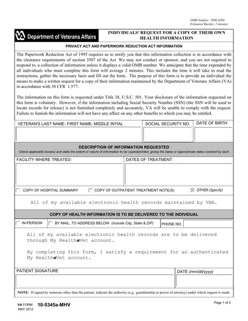 VA Form 10-5345a-mhv Download Fillable PDF, Individuals