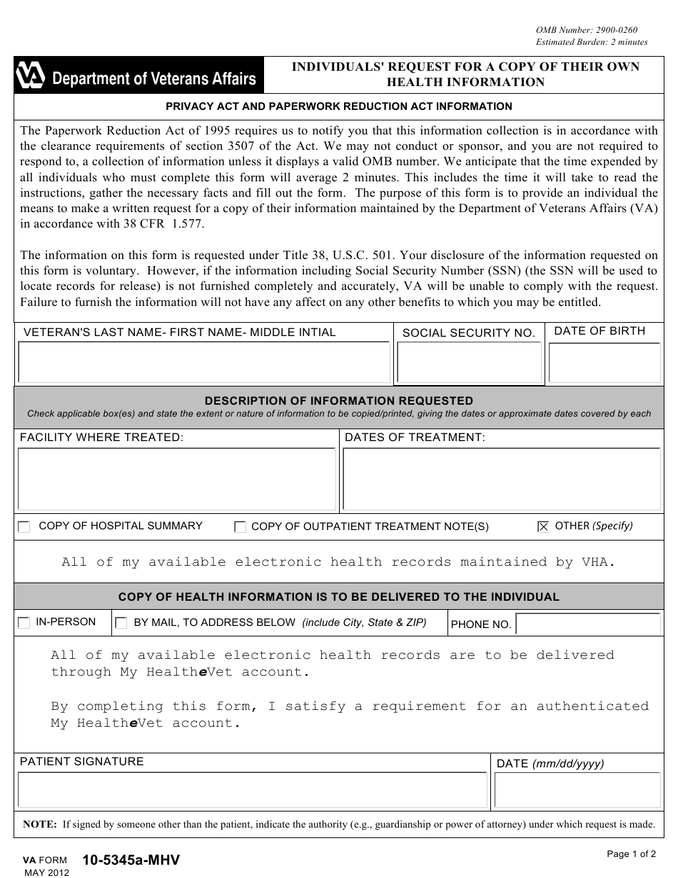 VA Form 10-5345a-mhv Download Fillable PDF or Fill Online ...