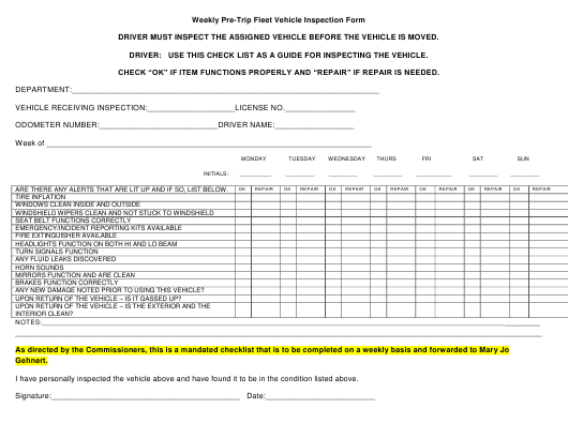 """Weekly Pre-trip Fleet Vehicle Inspection Form"" - Dawson County, Montana Download Pdf"