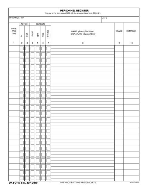 DA Form 647  Printable Pdf