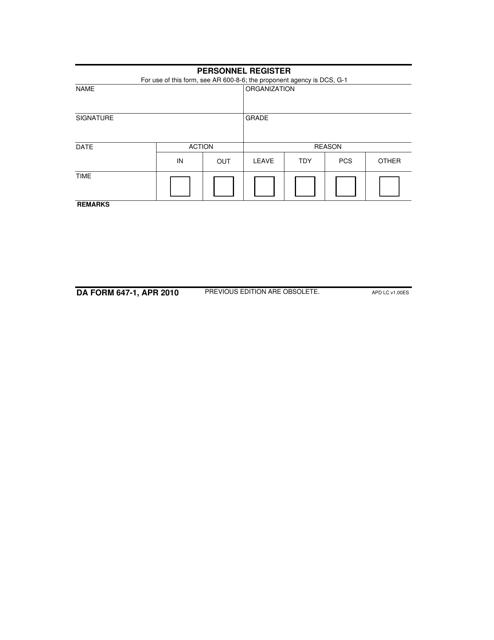 DA Form 647-1 Fillable Pdf
