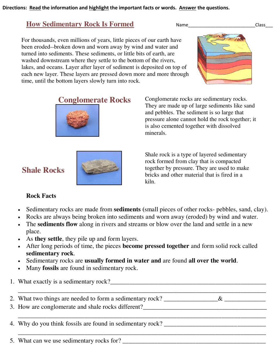 Sedimentary Rock Formation Geology Worksheet Download ...