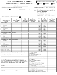 Sales, Use, Rental & Lodging Tax Report Form - City of Anniston, Alabama