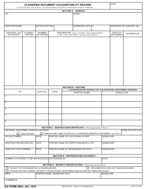 DA Form 3964 Fillable Pdf