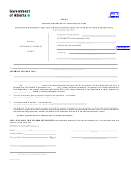 "Form A.2 ""Foreign Ownership of Land Regulations"" - Alberta, Canada"