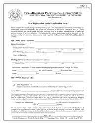"Form C ""Firm Registration Initial Application Form"" - Texas"