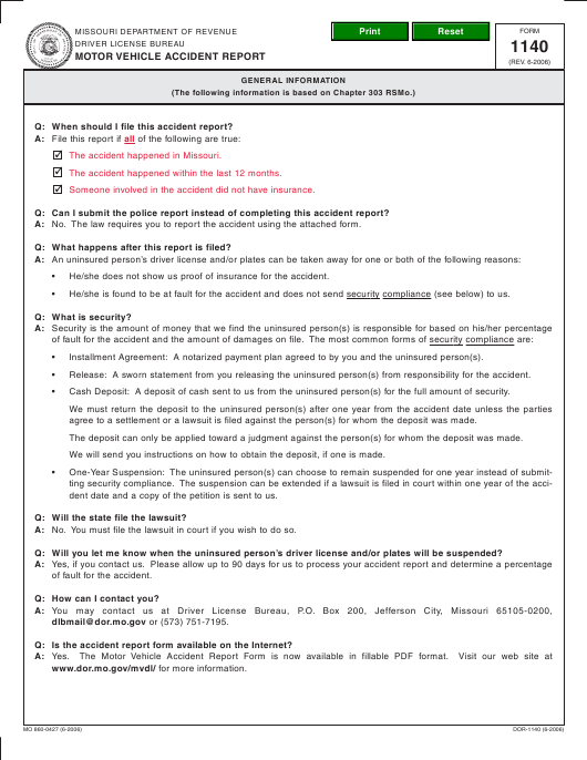 Form 1140 Download Fillable PDF, Motor Vehicle Accident