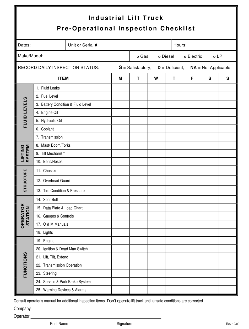 """""""Industrial Lift Truck Pre-operational Inspection Checklist Template"""" Download Pdf"""