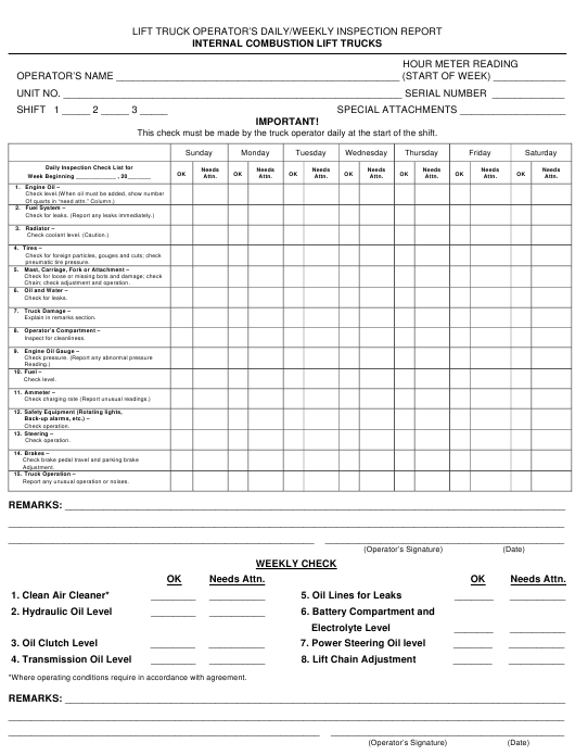 """""""Lift Truck Operator's Daily/Weekly Inspection Report Form"""" Download Pdf"""
