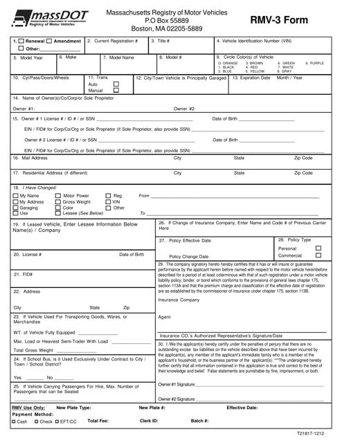 Rmv 1 Form >> Form Rmv 3 Download Fillable Pdf Massachusetts Registry Of