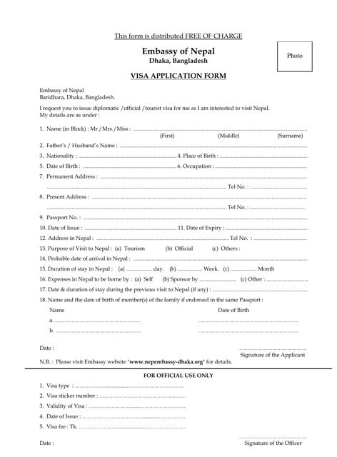 Nepal Visa Application Form - Embassy of Nepal Dhaka