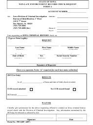Form 595-1489 Non-law Enforcement Record Check Request - Iowa
