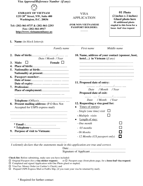 """Vietnam Visa Application Form - Embassy of Vietnam"" - Washington, D.C. Download Pdf"