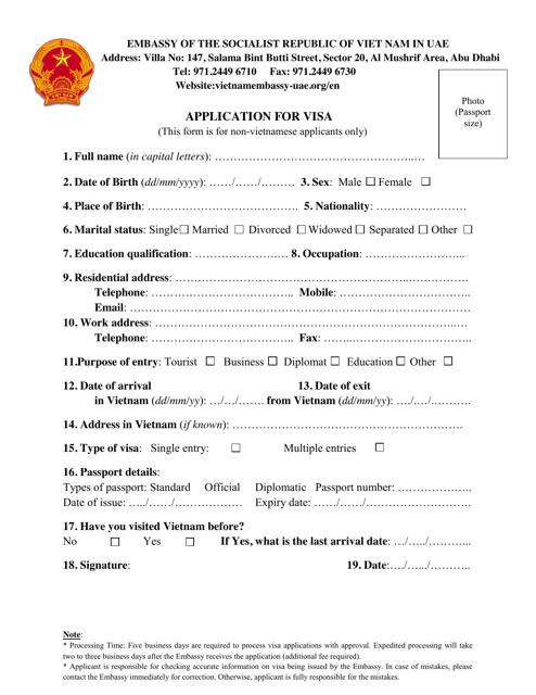 """Application for Vietnam Visa - Embassy of the Socialist Republic of Viet Nam"" - Abu Dhabi, United Arab Emirates Download Pdf"