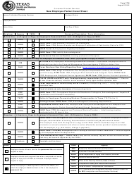 Form 1724 New Employee Packet Cover Sheet - Texas