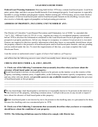"""""""Lead Disclosure Form"""" - Washington, D.C."""