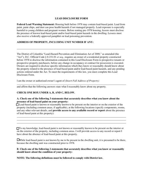 """""""Lead Disclosure Form"""" - Washington, D.C. Download Pdf"""