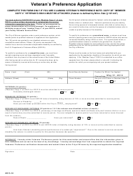 Veteran's Preference Application Form - Minnesota