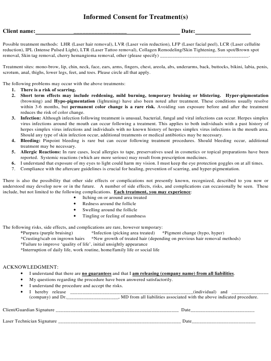 Consent Form Templates Pdf Download Fill And Print For Free Templateroller