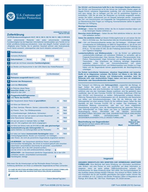 CBP Form 6059B Printable Pdf