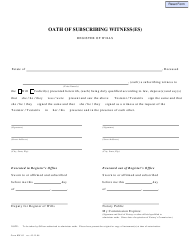 "Form RW-03 ""Oath of Subscribing Witness(Es)"" - Pennsylvania"