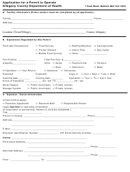"""Form ACDOH-101 """"Application for a Permit to Operate"""" - Allegany County, New York"""