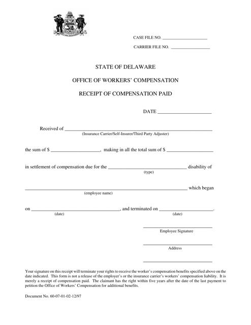 """Receipt of Compensation Paid"" - Delaware Download Pdf"