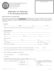 """""""Application for Admission to the Wyoming State Bar"""" - Wyoming"""