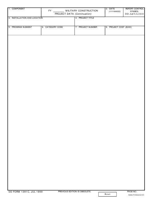 DD Form 1391C Fillable Pdf