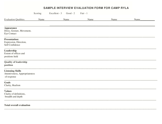 Interview Evaluation Form - Camp Ryla - Sample Download Pdf