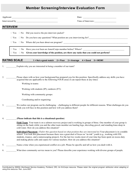 """""""Americorps Member Screening/Interview Evaluation Form - Northwest Service Academy"""" Download Pdf"""
