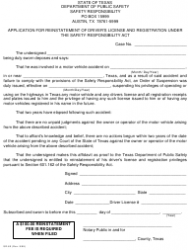 Form SR-60 Application for Reinstatement of Driver's License and Registration Under the Safety Responsibility Act - Texas