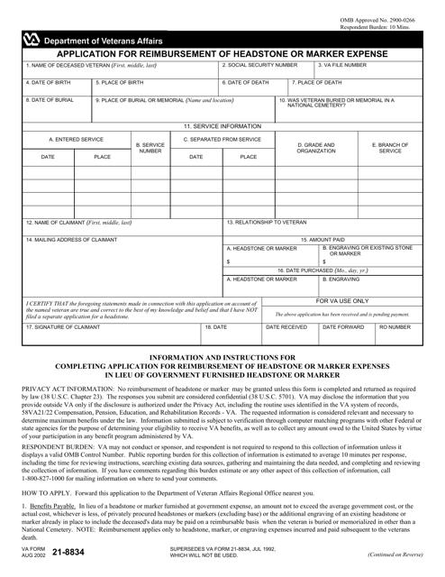 VA Form 21-8834  Printable Pdf