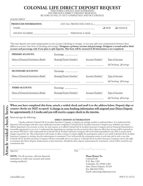 direct deposit request form