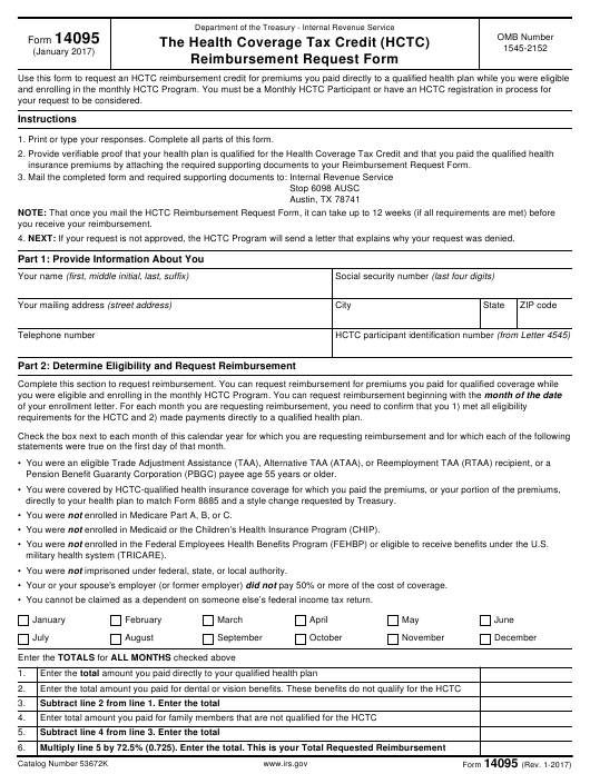 Irs Form 14095 Download Printable Pdf Or Fill Online The Health