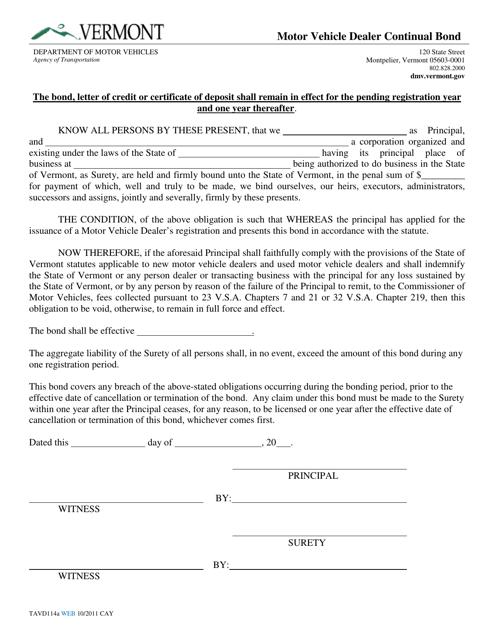 Form TA-VD-114A  Printable Pdf
