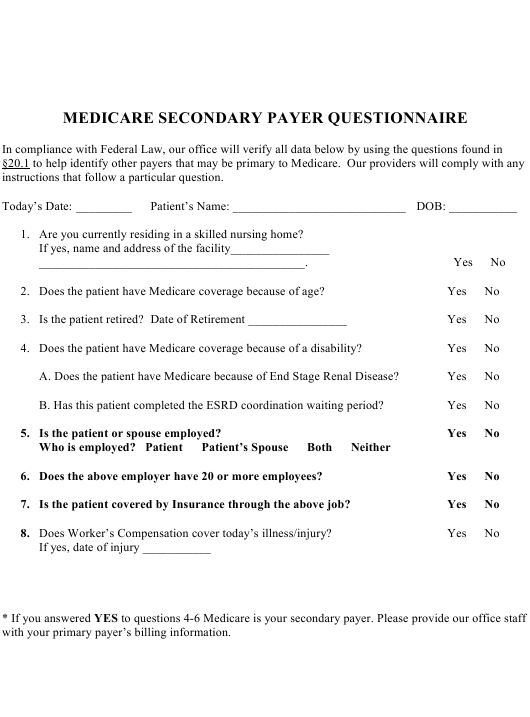 medicare secondary payer questionnaire template download printable