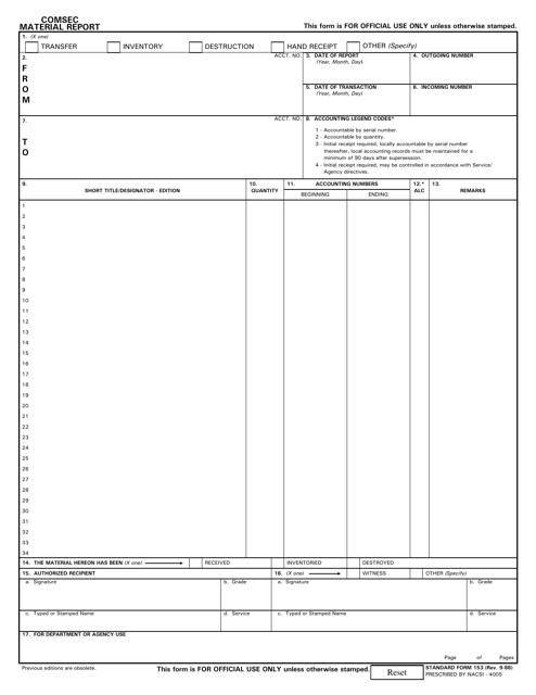 Form SF-153  Printable Pdf