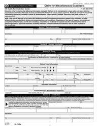 VA Form 10-7959e Claim for Miscellaneous Expenses