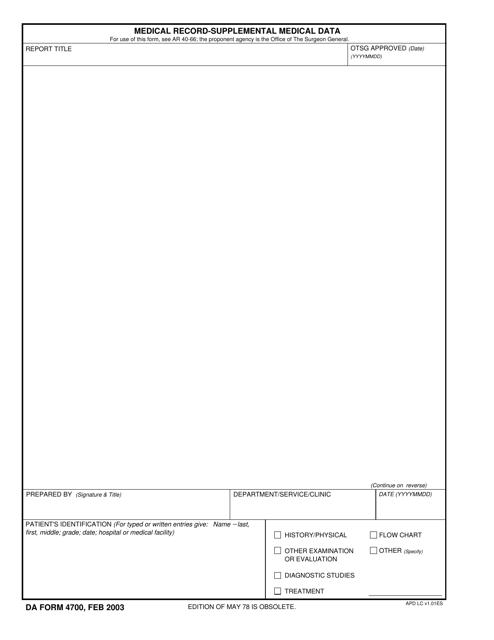 DA Form 4700  Printable Pdf