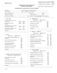 "Form TE-97001 ""Work Zone Safety Checklist - Traffic Engineering - Construction / Maintenance / Utility / Permit"" - Virginia"