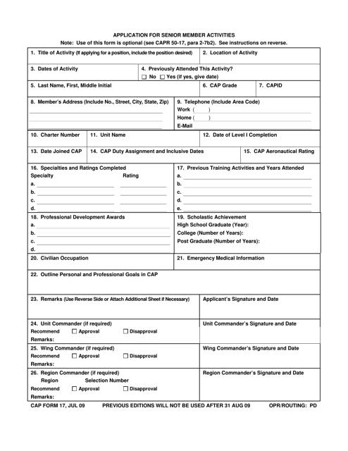 CAP Form 17 Download Fillable PDF, Application for Senior