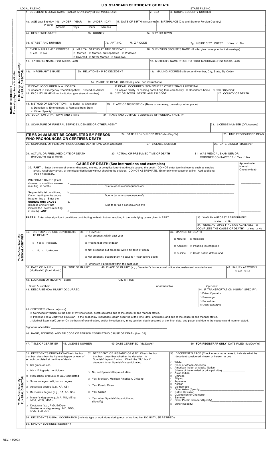 U.S. Standard Certificate of Death Download Printable PDF Within Baby Death Certificate Template